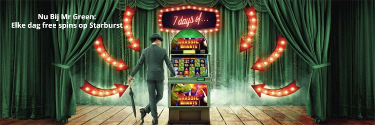 Starburst gratis spins bij Mr Green