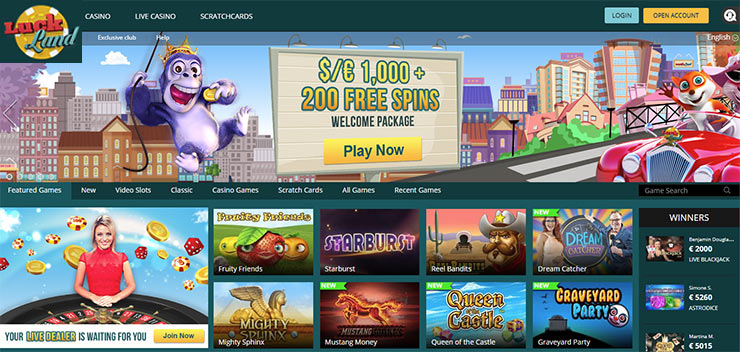 Website of Luckland casino - Homepage