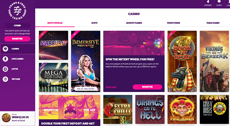 Frank Fred casino website