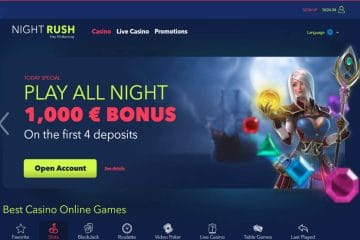Nightrush-casino homepage