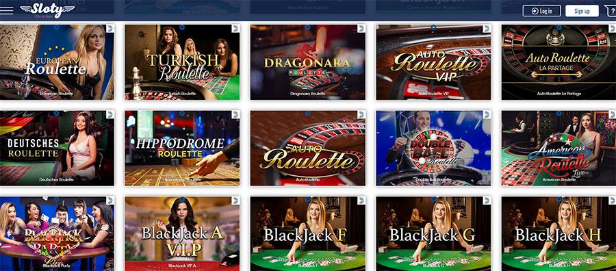 Live casino spil fra Sloty