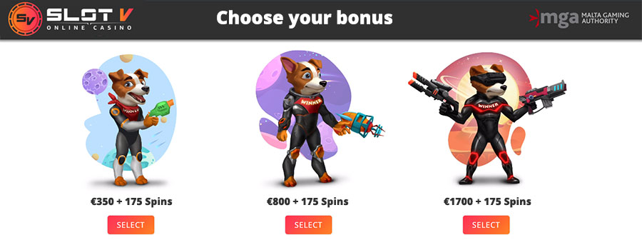 Choose your casino bonus yourself at SlotV