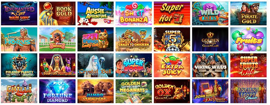 SpinShake赌场的游戏产品