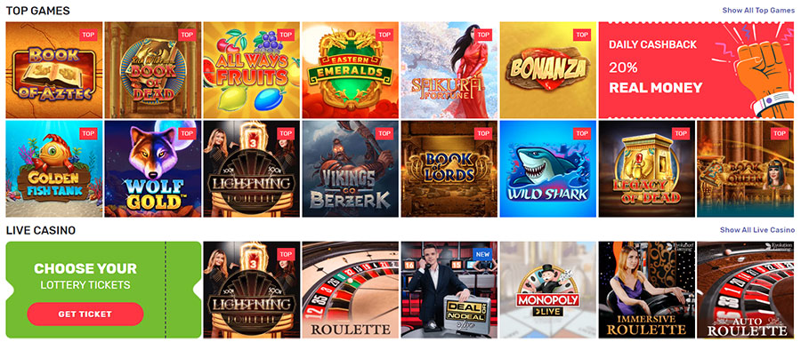 Play casino games on Crazy Fox